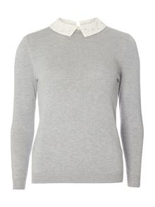 Dorothy Perkins Petite Lace Collar Jumper
