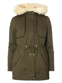 Dorothy Perkins Faux Leather Trim Parka