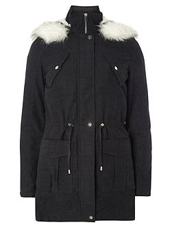 Tall Twill Zip Hood Parka Coat