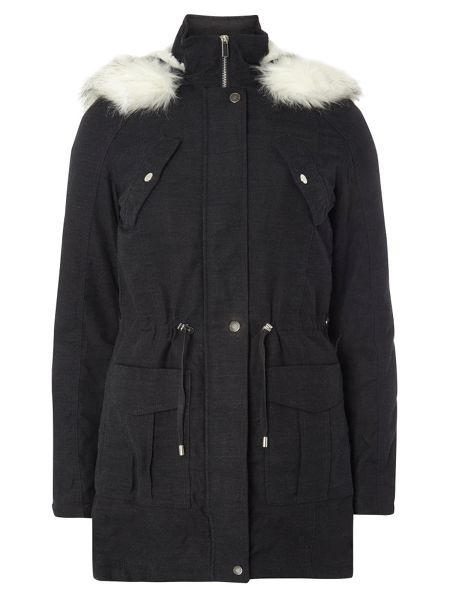Dorothy Perkins Tall Twill Zip Hood Parka Coat