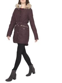 Dorothy Perkins Tall Fig Shine Trim Parka