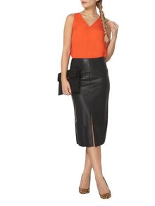 Dorothy Perkins PU Front Split Pencil Skirt