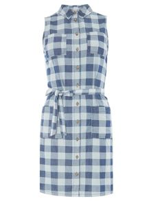 Dorothy Perkins Check Sleeveless Denim Dress