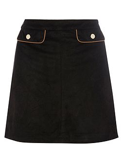 Suedette Mini Skirt with PU Piping