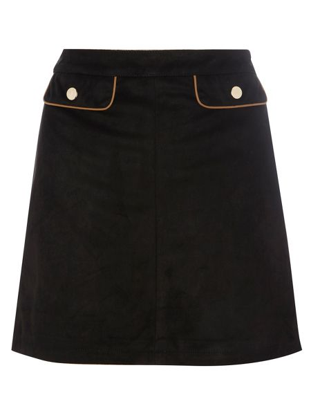 Dorothy Perkins Suedette Mini Skirt with PU Piping