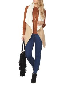 Dorothy Perkins Belted Faux Shearling Gilet