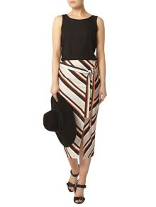 Dorothy Perkins Stripe Wrap Belted Pencil Skirt