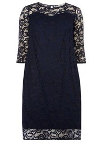 Dorothy Perkins Billie Curve 3/4 Sleeve Lace Dress