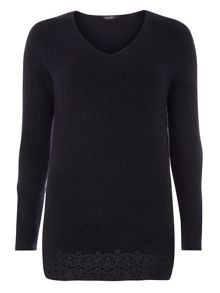 Dorothy Perkins Lace Hem V Neck Jumper