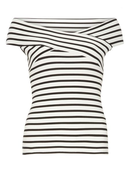 Dorothy Perkins Ivory and black stripe bardot top