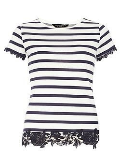Stripe Lace Hem T-Shirt