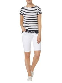 Dorothy Perkins Stripe Lace Hem T-Shirt