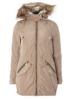 Detachable Fur Parka Coat