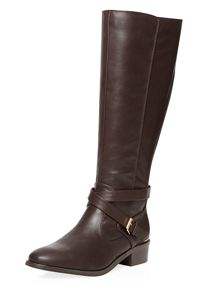 Dorothy Perkins Wide Fit Leather Look Knee High Riding Boots