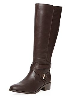 Wide Fit Leather Look Knee High Riding Boots