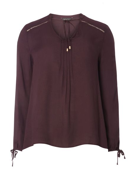 Dorothy Perkins Fig Poet Tie Neck Blouse