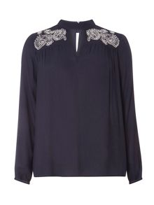 Dorothy Perkins Tab Neck Embroidered Top