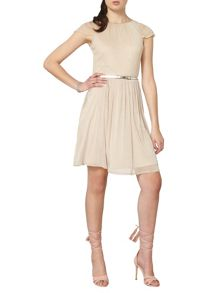 Dorothy Perkins Billie and Blossom Fit and Flare Dress with Mesh