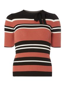 Dorothy Perkins Multi Stripe Tie Neck Jumper
