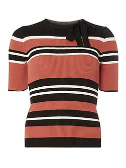 Multi Stripe Tie Neck Jumper