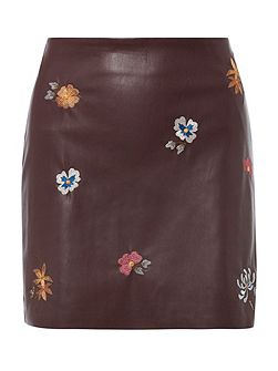 Embroidered PU Skirt