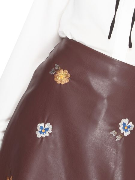 Dorothy Perkins Embroidered PU Skirt