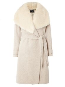 Dorothy Perkins Fur Collar Herringbone Coat
