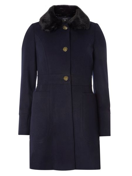 Dorothy Perkins Fur Fit and Flare Dolly Coat
