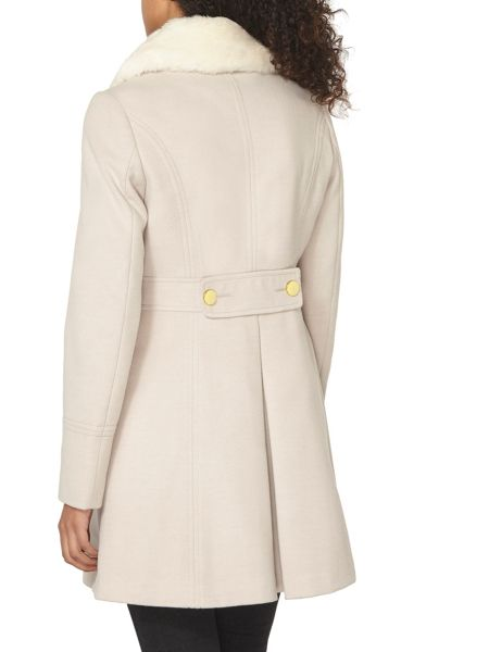 Dorothy Perkins Fur Collared Fit and Flare Dolly Coat