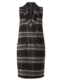 Checked Sleeveless Coat