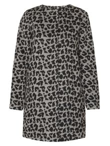 Dorothy Perkins Animal Wool Collarless Coat