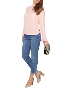 Dorothy Perkins Petite High Neck Fluted Sleeve Top
