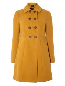Dorothy Perkins Ochre DB Swing Coat