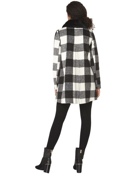 Dorothy Perkins Mono Check Bow Dolly Coat