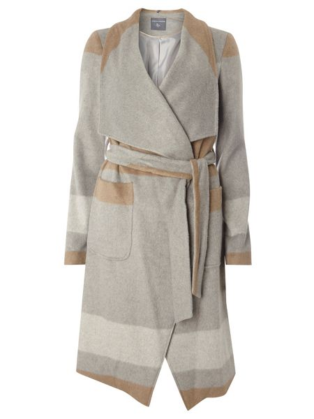 Dorothy Perkins Tall Striped Waterfall Coat