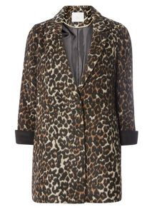 Dorothy Perkins Petite Animal Crombie Coat