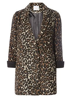 Petite Animal Crombie Coat