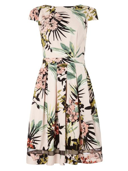 Dorothy Perkins Tall Tropical Fit and Flare Dress