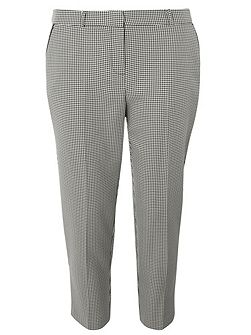 Petite Dogtooth Straight Leg Trousers