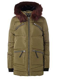 Zip Fur Padded Coat