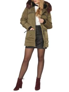 Dorothy Perkins Zip Fur Padded Coat