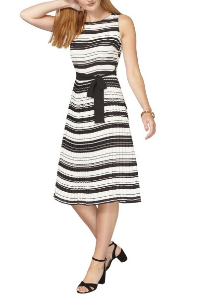 Dorothy Perkins Stripe Pleated Fit and Flare Dress