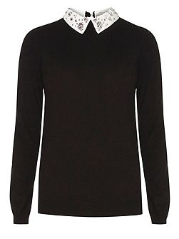Tall Embellished Collar Jumper