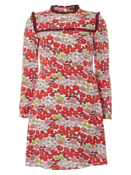 Dorothy Perkins Floral Frill Fit and Flare Dress