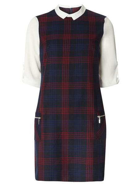 Dorothy Perkins Check Print 2in1 Dress with Chiffon Sleeves