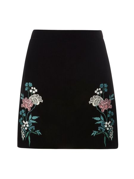 Dorothy Perkins Embroidered Velvet Skirt