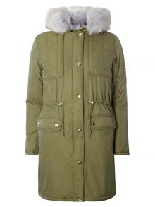 Dorothy Perkins Fur Quilted Parka Coat