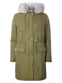 Fur Quilted Parka Coat