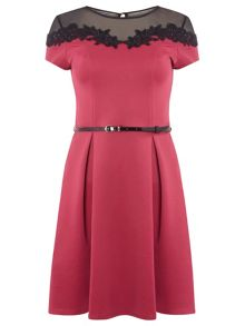 Dorothy Perkins Floral Lace Trim Fit and Flare Dress