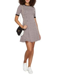 Dorothy Perkins Tall Geo Spot Fit and Flare Dress